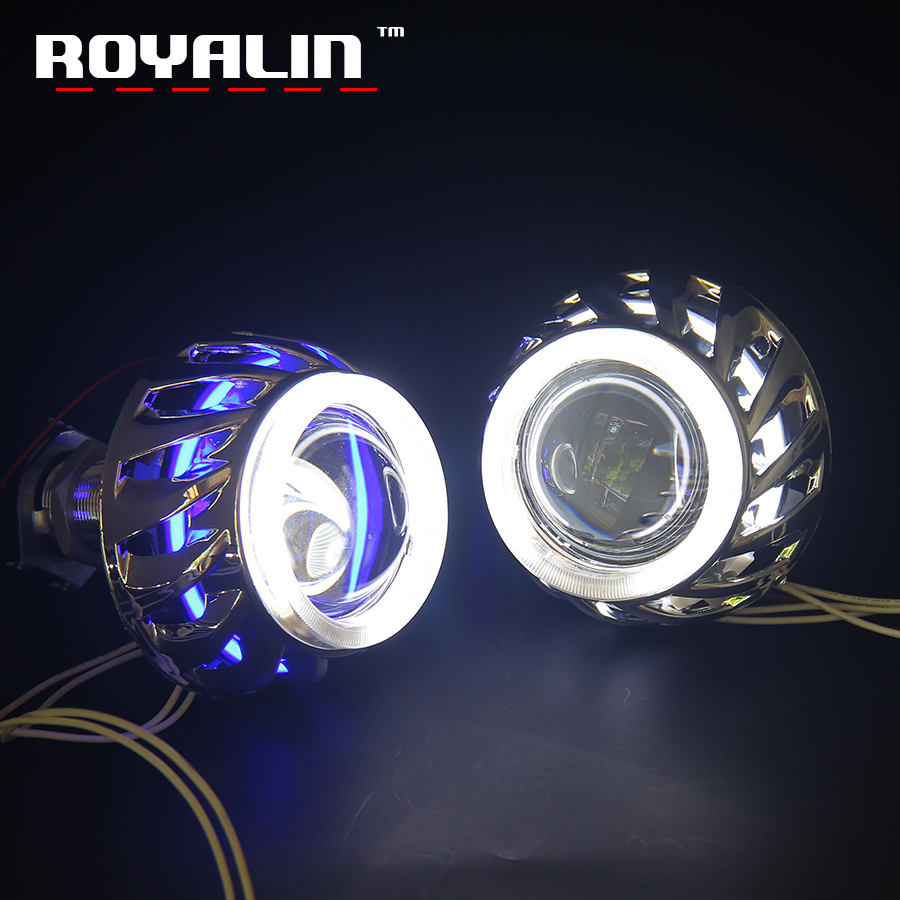 ROYALIN Car Styling Motorcycle Projector Light Lens HID Bi Xenon H1 With CCFL Double Diode Rings