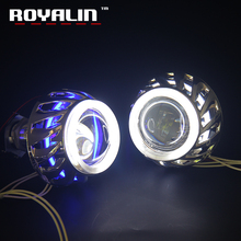 ROYALIN Car Styling Motorcycle Projector Light Lens HID Bi-Xenon H1 With CCFL Double Diode Rings Angel Eyes White Red Blue H4 H7