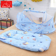 цена MAMACLEVA Foldable Baby Bed Mosquito Net Portable Bedding Crib Netting Mat Pad Tent Bed Mattress Pillow Suit for 0-2 Years в интернет-магазинах