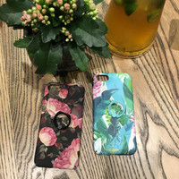 Plant Case For I7 Peony Flower Green Leaves Case With Grip Ring For IPhone 7plus 6