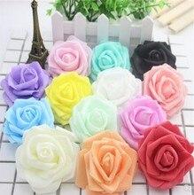 50pcs Multicolor Foam Rose Flower Head Artificial Bouquet Handmade Wedding Home Decoration Festive Party scrapbook 6CM