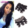 13*4 Lace Frontal Body Wave Brazilian Virgin Hair 100% Human Hair 50g-80g/piece None Chemical Processing Lace Frontal 1 piece