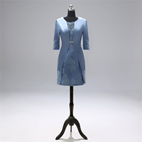 Elegant Mother of The Bride Dress Short Lace Formal Dresses Evening Coat For Women with Dress And Jacket