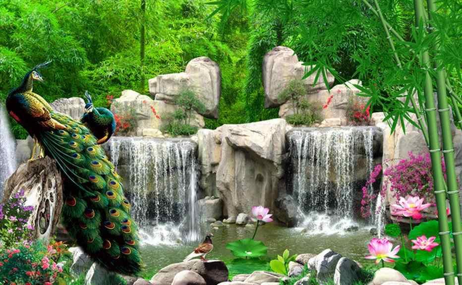 Украшение дома 3d обои для комнаты бамбуковые рок горы Павлин ТВ фон фото 3d обои