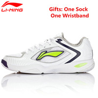Li Ning Badminton Shoes Leather Fabric Hard Wearing Cushioning Dry Fast Light Sneakers Sport Shoes Men