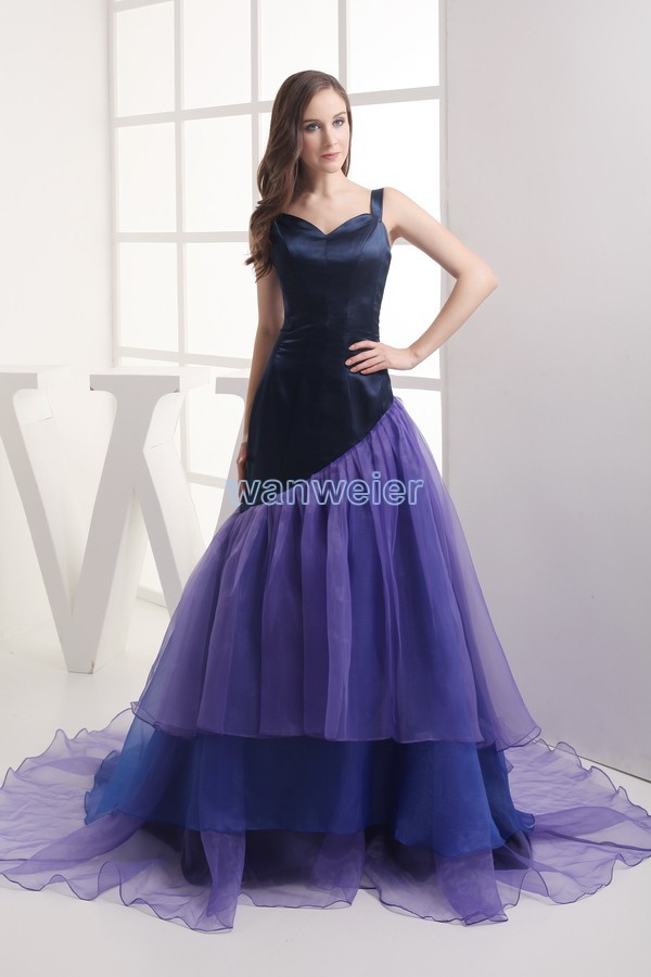 Livraison gratuite tops de soirée 2013 vestidos formales nouveau design organza à volants domestique de jeunes mariées robe personnalisée longue robe de bal robes