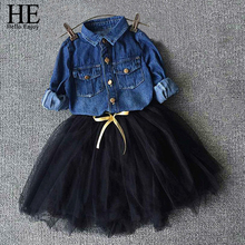 Girls Denim Shirt Bow Suit 2pcs