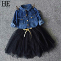 HE Hello Enjoy girls dress New 2017 autumn girls clothes kids dresses for girls denim shirt + dress clothing set party dresses