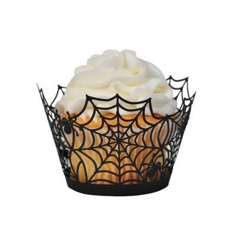 quality 24pcsset black spiderweb laser cut cupcake holder cake stand for wedding birthday party - Halloween Cupcake Holder