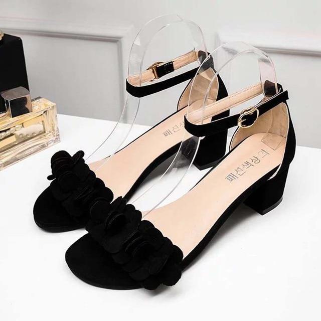 e72da876331 Womens Ladies Block High Heel Sandals Flowers Adorn Buckle High Heels Shoes