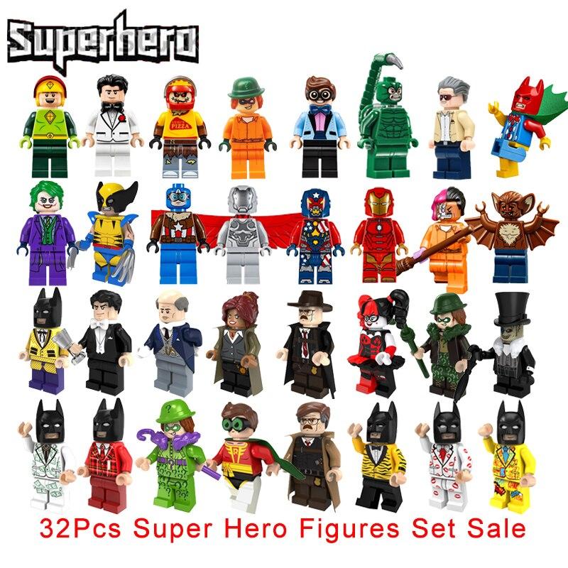 Children Toy Gift 32Pcs/Set Super Heroes Star Wars Building Blocks Sets Marvel Avengers X-Men Wolverine Man Bat Model Brick