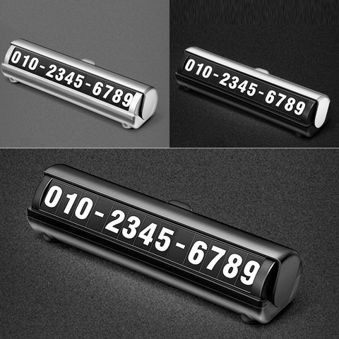 Car Temporary Luminous Parking Number Plate Sticker Creative Rotary 3D Hidden Sign Mobile Phone Number Universal Car Accessories Multan