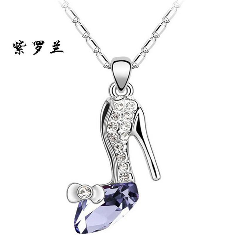 2017 new high quality trendy plated crystal cinderella glass slipper 2017 new high quality trendy plated crystal cinderella glass slipper pendant necklace in chain necklaces from jewelry accessories on aliexpress aloadofball Choice Image
