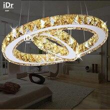 2 anneaux LED pendentif lumières créatif rond restaurant moderne cristal lampe salon salle à manger éclairage jardin doré lampes