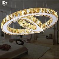 2 rings LED Pendant Lights Creative round restaurant modern crystal lamp living room dining room lighting garden golden lamps