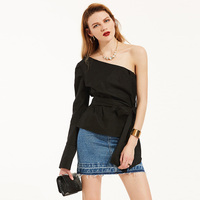 Black Bow Sexy Tops Asymmetric One Shoulder Blouse 2017 Women Summer Tops Bishop Sleeve Sweet Ruffle