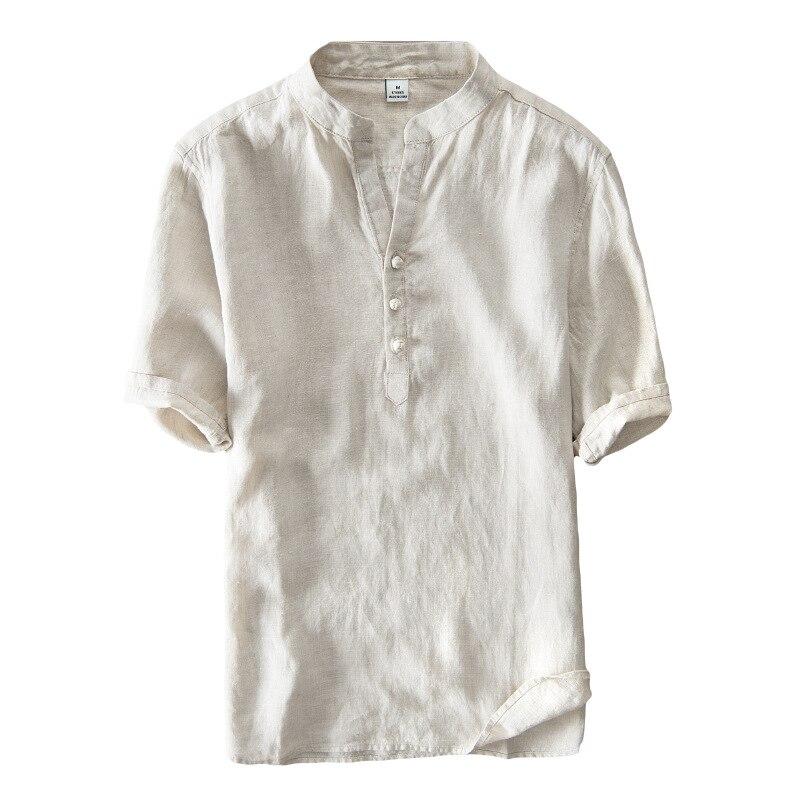 2c137336a85c726 Летние шорты с длинными рукавами мужские рубашки в стиле кэжуал больших  размеров хлопковый плотный льняной пиджак рубашка в китайском стил.
