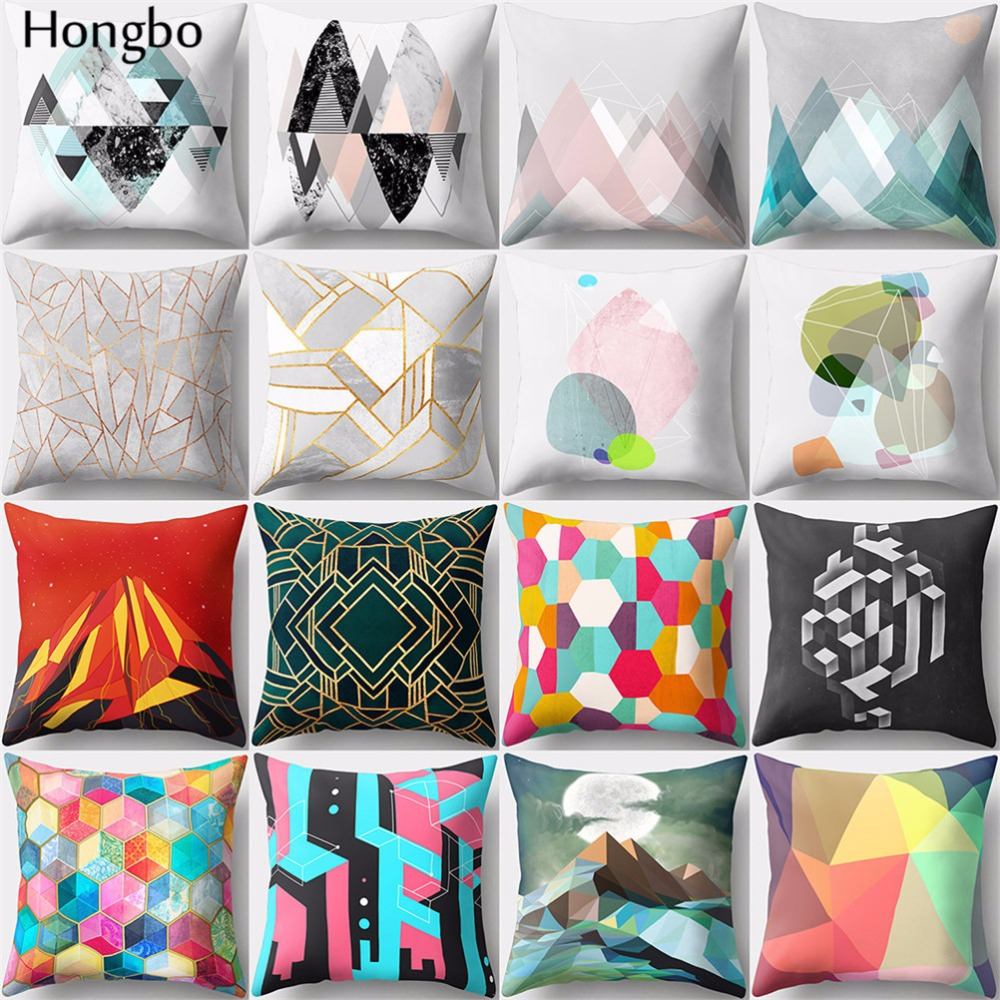 Hongbo 1 Pcs Colorful Marble Geometric Printed Pillowcase Cushion Cover Bed Pillow Case Home Decor for Car Sofa