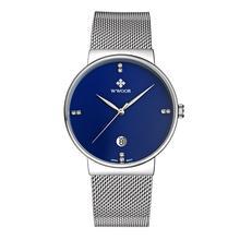 2016 Marca de Fábrica Famosa WWOOR Relojes Hombres de Acero Inoxidable de Malla de Banda Dial Azul Reloj de moda De Cuarzo Analógico Reloj Ultra Delgado Masculino 8018
