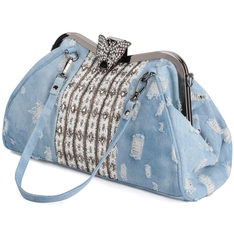 Womens Shoulder Bag Clutch Fashion Denim Rhinestones Crystal Women Handbag Top Handle Butterfly Decoration Patchwork BagsWomens Shoulder Bag Clutch Fashion Denim Rhinestones Crystal Women Handbag Top Handle Butterfly Decoration Patchwork Bags