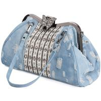Women's Shoulder Bag Clutch Fashion Denim Rhinestones Crystal Women Handbag Top Handle Butterfly Decoration Patchwork Bags