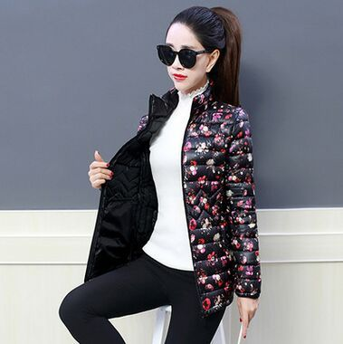 2018 Winter Jacket women Plus Size Womens Parkas Thicken Outerwear  flower print Coats Short Female Slim Cotton basic tops 3