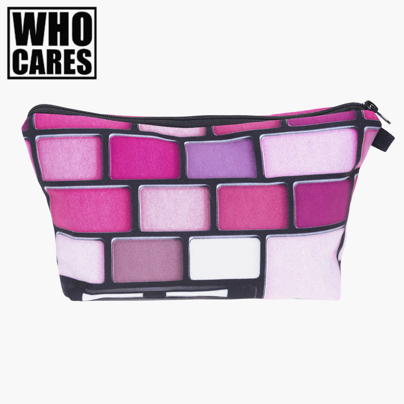 Pink eyeshadows 3D Printing cosmetic bag 2016 who cares Fashion women makeup bag trousse de maquillage pencil bags necessaire