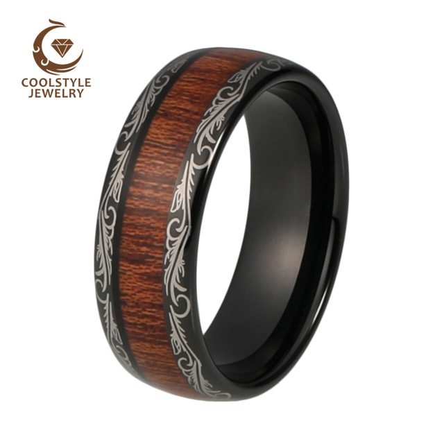 Mens Wedding Band 8mm Black Tungsten Ring Wood Inlay Grain Pattern