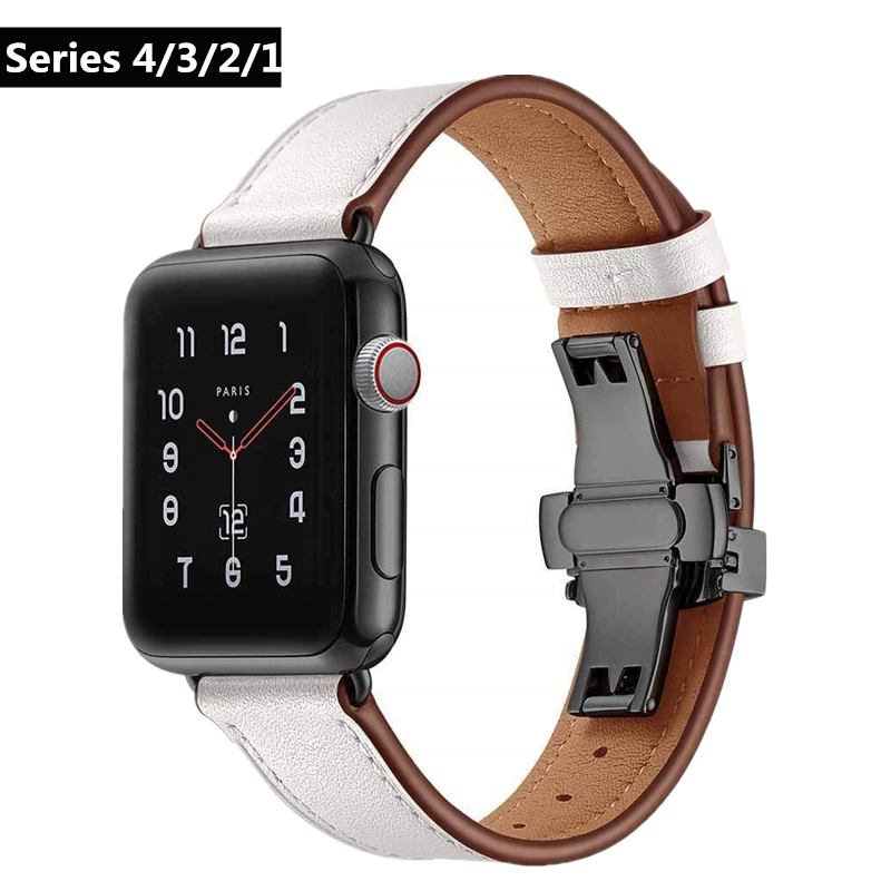 Luxury Genuine Leather Band for Apple Watch Series 4 40mm 44mm Wrist Link Bracelet Belt for iwatch Series 3/2/1 38mm 42mm Strap Watchbands     - title=