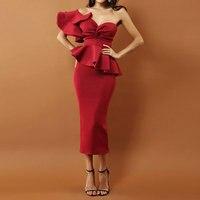 Sladuo Celebrity Evening Party Dress 2018 Women's Sets Sexy Bodycon One Shoulder Ruffles Short Sleeve Strapless Club Dress Dress