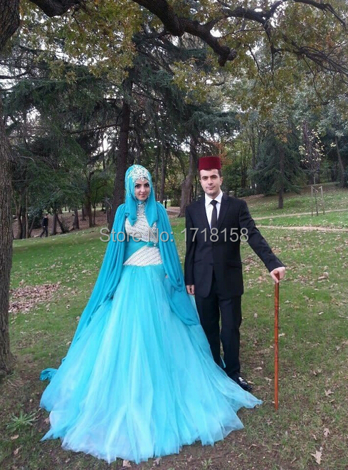 Abaya Bridal Gown Light Sky Blue White Pearls Decorated High Neck Wedding Dresses With Veils In From Weddings Events On