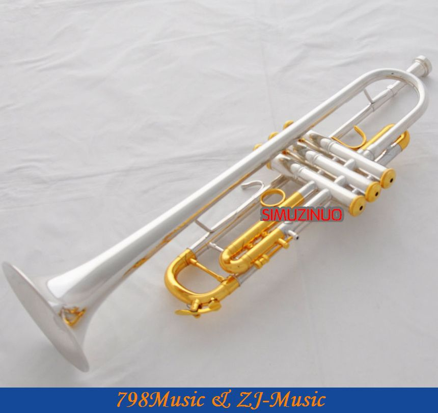 Professzionális ezüst aranyozott trombita Monel B-lapos fekete héj - Hangszerek - Fénykép 2