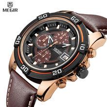 MEGIR Chronograph Sport Watch Men Analog Digital Watch Luxury Genuine Leather Band Fashion Men Watches Relogio