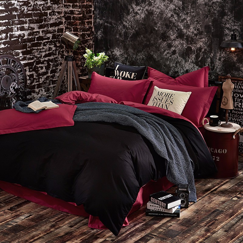 100% Cotton Black Red Color King, Queen, Twin, Size Bedding Set, Solid Color Duvet Cover Set, Bed sheet /Fitted Sheet, Pillowcases 18