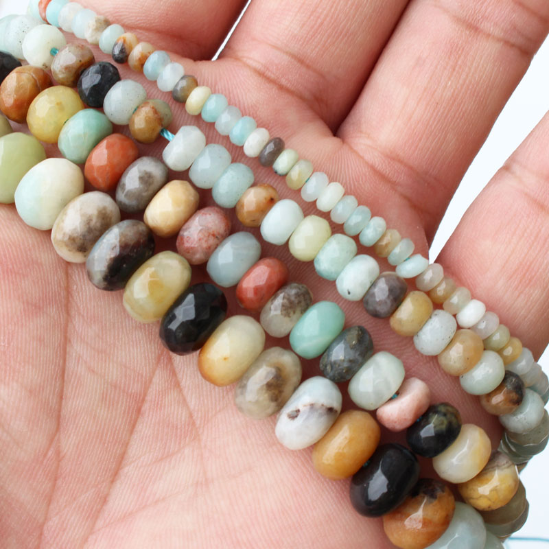 Mini. order is $7! <font><b>2x4mm</b></font> 4x6mm 5x8mm 6x10mm Faceted Natural Multicolor Amazonite Stone Rondelle Abacus Jewelry Beads Strand 15