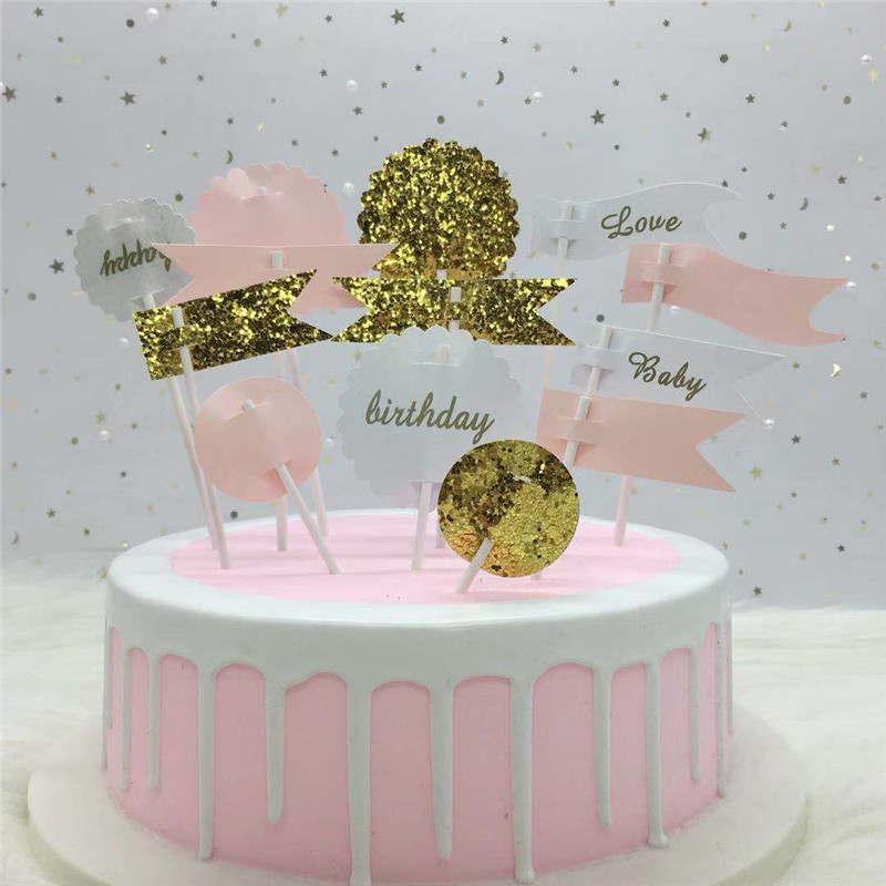 ONE TO FORU 13 Pcs New Bright small flag glitter Cake Topper Package Blue Pink Taart Decoratie Verjaardag