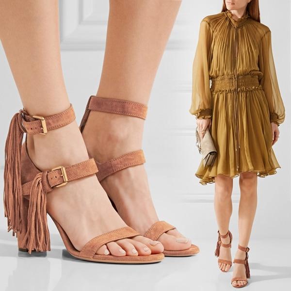 New Tassel Sandals Femme Gladiator Sandals Women Summer Shoes Buckle Strap Sandals Women High Heels Sexy Fringe Sandalias Mujer