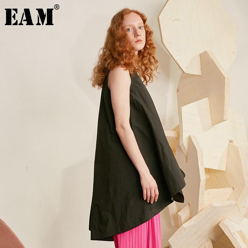 [EAM] 2019 New Spring Summer Squar Collar Sleeveless Black Brief Knitting Personality Tank Tops Women Fashion Tide JW516