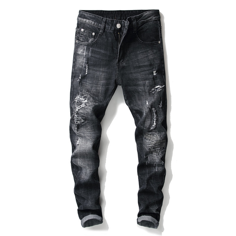 High quality mens slim fit classic jeans destroyed embroidery hole denim pants for men scratched black trousers streetwear teen