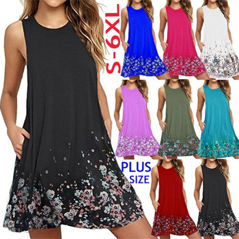 Plus Size Women Dress Summer Casual O-Neck Sleeveless Print Beach Dress Women Tank Dress Vestido Female Loose Dress 4XL 5XL 6XL