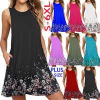 Plus Size Women Dress Summer Casual O-Neck Sleeveless Print Beach Dress Women Tank Dress Vestido Female Loose Dress 4XL 5XL 6XL