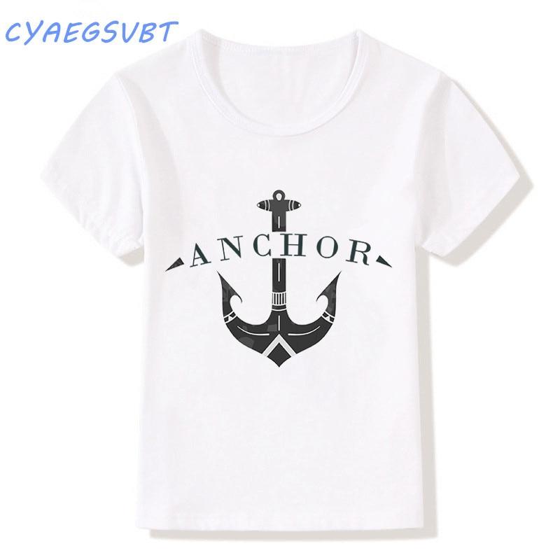 CYAEGSVBT Nautical Boat anchor Letter Printed Harajuku t