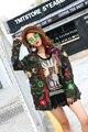 Melinda Estilo 2016 de las nuevas mujeres chaqueta de la manera con lentejuelas decorado del ejército escudo de manga larga outwear el envío libre