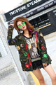 Melinda Style 2016 new women fashion jacket sequined decorated army coat long sleeves outwear free shipping