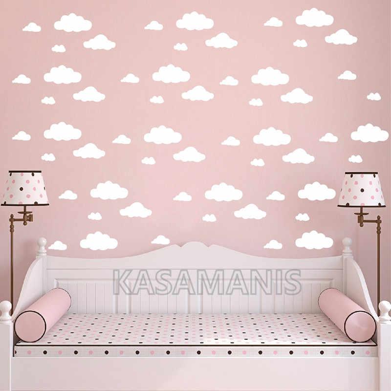 42 pièces grande taille dessin animé nuages forme mur Art stickers bricolage drôle nuages vinyle autocollant Mural enfants chambre murale pépinière Art décoration murale