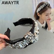 AWAYTR Korea Handmade Pearl Flower Headband for Women Luxury Fabric Lace Hairband Women Girls Headwear Ladies Hair Accessories