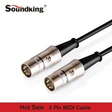 Soundking ขายร้อน Midi Cable 5pin ชายสายกีตาร์ midi สายเปียโนเครื่องดนตรีสาย 1.5 เมตร /3 เมตร/6 เมตร B20