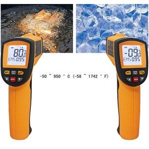 Image 5 - דיגיטלי מדחום אינפרא אדום אדום לייזר טמפרטורת מד גלאי ללא מגע IR Pyrometer טמפרטורת LCD מד אקדח נקודה