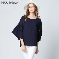Women Blouses Shirt 2017 Summer Big Size Flare Sleeve Casual Blue White Loose Ladies Shirts Plus