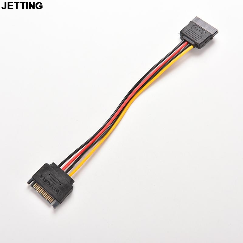 JETTING 1PC 15 Pin SATA Male to Female 15 Pin 15P SATA Adapter Power Extension Cable Wire Cord 8 Inches 1m 1 8m 3m e sata esata male to male extension data transfer cable cord for portable hard drive 3ft 6ft 10ft